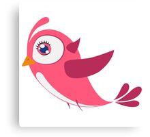 Adorable pink cartoon bird Canvas Print