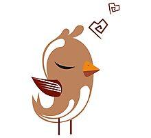 Single cartoon bird in love Photographic Print