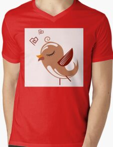 Single cartoon bird in love Mens V-Neck T-Shirt