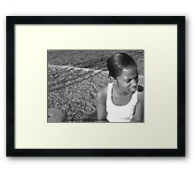 BLACK WOMAN IN BLACK AND WHITE Framed Print