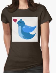 Single cartoon bird in love Womens Fitted T-Shirt