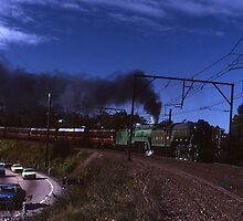 """Flying Scotsman"" & 3801 @ Springwood, Australia 1989 by muz2142"