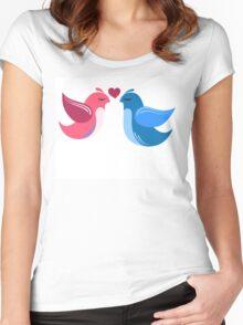 Two cartoon birds in love Women's Fitted Scoop T-Shirt