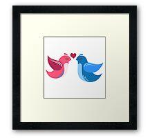 Two cartoon birds in love Framed Print