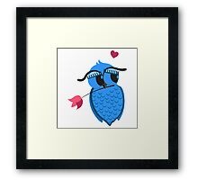 Cute cartoon owl in love Framed Print