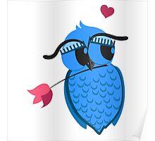 Cute cartoon owl in love Poster