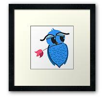 Cute cartoon owl in love Framed Print