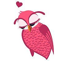 Cute cartoon owl in love Photographic Print