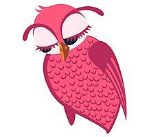 Cute single cartoon owl Photographic Print
