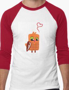 Cute cartoon owl in love Men's Baseball ¾ T-Shirt