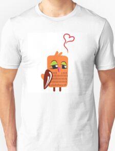 Cute cartoon owl in love Unisex T-Shirt
