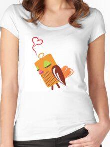 Cute cartoon owl in love Women's Fitted Scoop T-Shirt