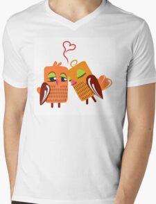 Two orange cartoon owls in love Mens V-Neck T-Shirt