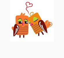 Two orange cartoon owls in love Unisex T-Shirt