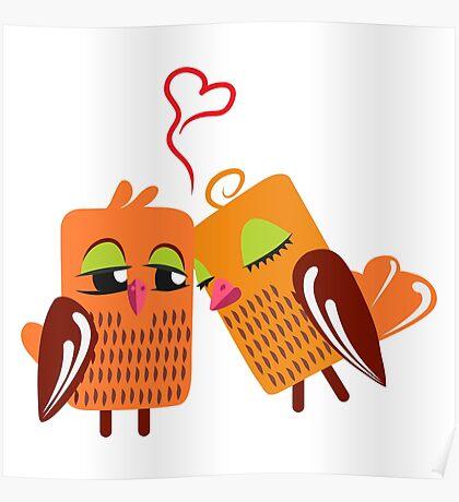 Two orange cartoon owls in love Poster