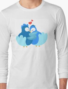 Two blue cartoon doves in love Long Sleeve T-Shirt