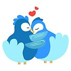 Two blue cartoon doves in love by berlinrob