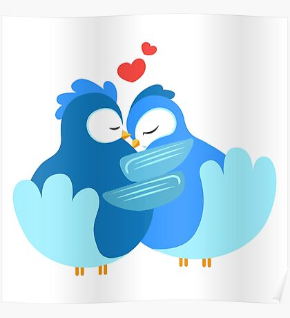 Two blue cartoon doves in love Poster