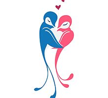 Two adorable cartoon birds in love by berlinrob