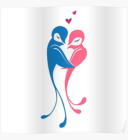 Two adorable cartoon birds in love Poster