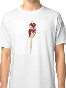 Adorable single cartoon bird in love  Classic T-Shirt
