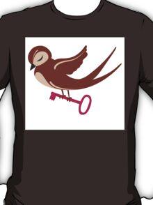 Adorable single cartoon bird in love  T-Shirt