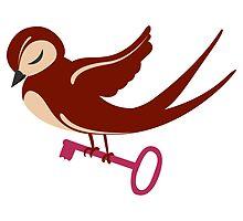 Adorable single cartoon bird in love  by berlinrob