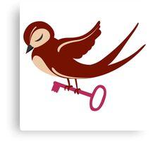 Adorable single cartoon bird in love  Canvas Print