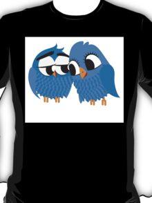 Two blue cartoon owls in love T-Shirt