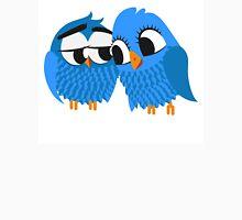 Two blue cartoon owls in love Unisex T-Shirt