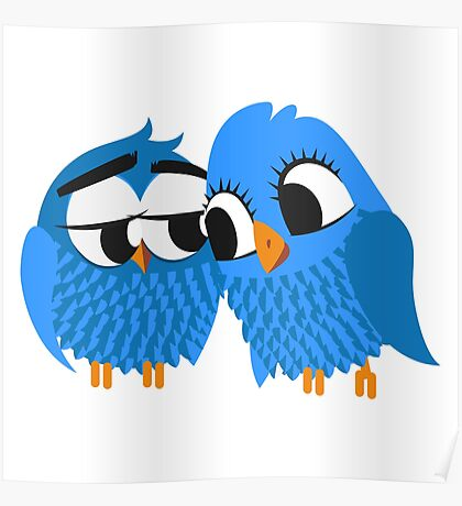 Two blue cartoon owls in love Poster
