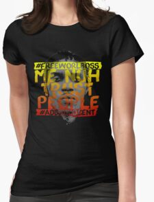 NUH TRUST PEOPLE #FREEWORLBOSS (YELLOW-RED) Womens Fitted T-Shirt
