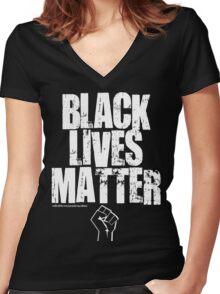 BLACK LIVES MATTER TOO Women's Fitted V-Neck T-Shirt