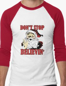Don't Stop Believing Santa Men's Baseball ¾ T-Shirt