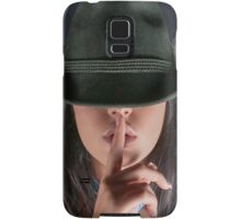 young woman in her 20s gesturing silence Samsung Galaxy Case/Skin