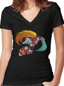 Geometric Zero Illustration Women's Fitted V-Neck T-Shirt