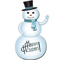 Happy Holidays Snowman Photographic Print