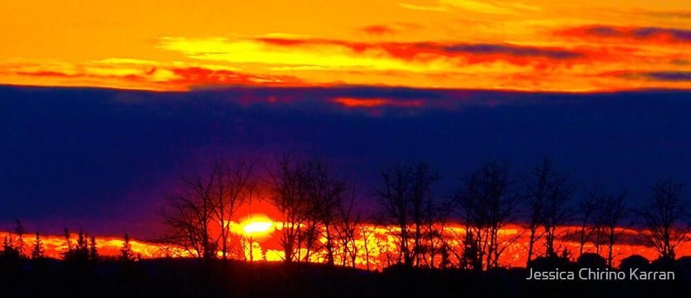 fire in the sky, Alberta Canada by Jessica Karran