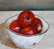 Bowl with apples by Sonja Peacock
