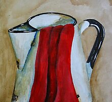 Jug with red kitchen towel by Sonja Peacock