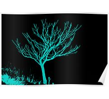 Cyan on Black - Tree Poster
