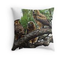 Three Great Horned Owls Throw Pillow