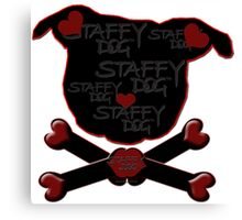 Staffy Dog and Crossbones of Love Canvas Print