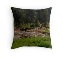Releasing the Herd Throw Pillow