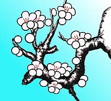 White Sakura Cherry Blossom Vector Design by 7RayedDesigns