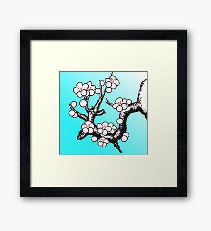 White Sakura Cherry Blossom Vector Design Framed Print