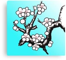 White Sakura Cherry Blossom Vector Design Canvas Print