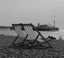 Deck Chairs at Brighton England by David  Owen