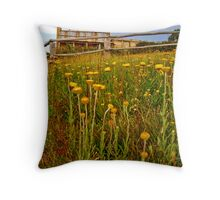 craigs hut through flowers Throw Pillow