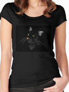 Black cat in the dark 2 Women's Fitted Scoop T-Shirt